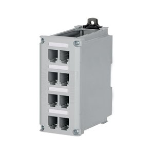 "Panduit CDPP8RG Patch Panel, DIN Rail Mount, 8 Port, 5.92"" H x 2.65"" W x 4.6"" D"