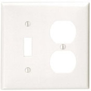 Leviton 80705-R Combination Wallplate, 2-Gang, Toggle/Duplex, Nylon, Red, Standard