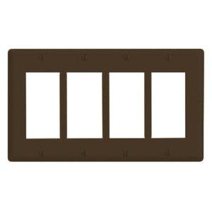 Leviton 80412-N Decora Wallplate, 4-Gang, Nylon, Brown