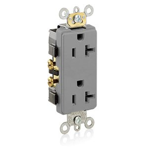 Leviton 16342-GY 20A Decora Duplex Receptacle, 125V, 5-20R, Gray, Side Wired, Spec