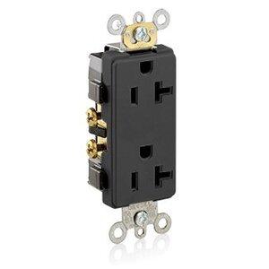 Leviton 16342-E 20A Decora Duplex Receptacle, 125V, 5-20R, Black, Side Wired, Spec