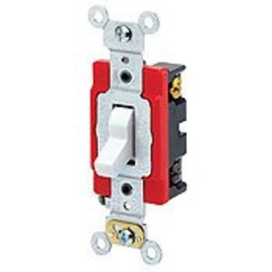 Leviton 1224-2E 4-Way Toggle Switch, 20A, 120/277V, Black, Industrial Grade