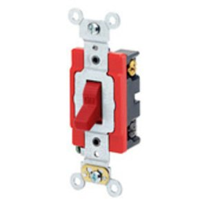Leviton 1224-2R 4-Way Toggle Switch, 20A, 120/277V, Red, Industrial Grade