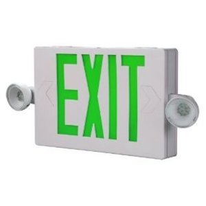 All-Pro Lighting APCH7G Emergency Combo Exit/Light, Remote Capacity, LED, White, Green Letters