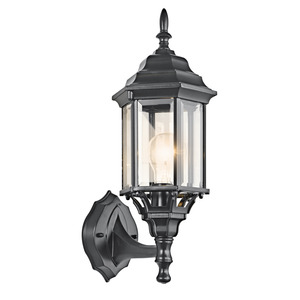 Kichler 49255BK 1 Light Outdoor Wall Lantern, Black Finish, 100W, 120V