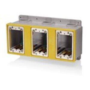 """Leviton FDBX3-GY Device Box, 3-Gang, Type FD, 1"""" Hubs, PVC"""