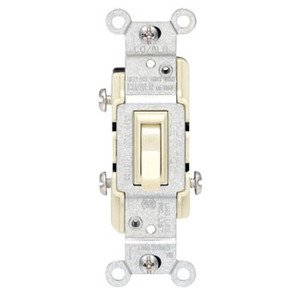 Leviton 2653-2I 3-Way Toggle Switch, 15A, 120VAC, Ivory, Residential, CO/ALR
