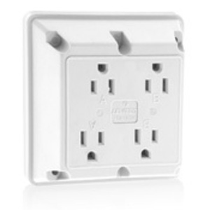 Leviton 1254-W 4-in-1 Receptacle, Nylon, White, 15A, 125V