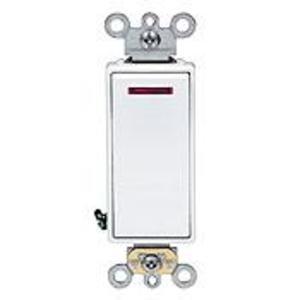 Leviton 5628-2W 1-Pole Decora Pilot Switch, 20A, 120V, 1/2HP, White, Lit When ON