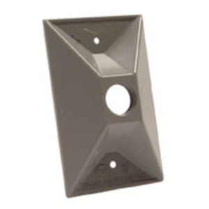 "Hubbell-Raco 5186-0 Weatherproof Cover, 1-Gang, 1/2"" Outlet, Gray, Zinc Die Cast"
