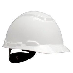 3M H-701R-UV-EA H-700 Series White Hard Hat, Short Brim, 4-Point Rachet Suspension