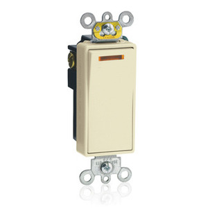 Leviton 5631-2I Illuminated Decora Switch, 1-Pole, 20A, 120V, Ivory, LIT WHEN OFF