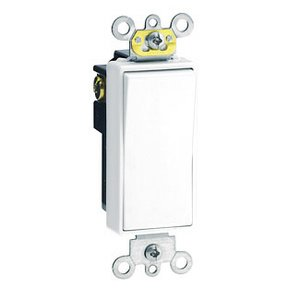Leviton 5624-2W 4-Way Decora Switch, 20A, 120/277V, 1-Pole, White, Back/Side Wired