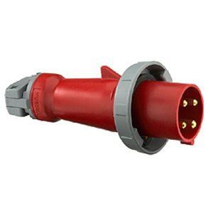Hubbell-Kellems HBL4100P7W Pin & Sleeve Plug, 100A, 3PH Delta 480V, 3P4W, Red