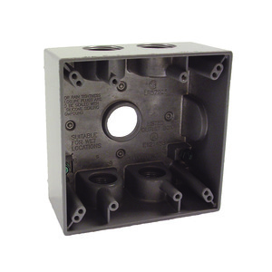 "Hubbell-Raco 5345-0 Weatherproof Outlet Box, 2-Gang, Depth: 2"", Die Cast"