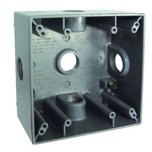 "Hubbell-Raco 5342-0 Weatherproof Outlet Box, 2-Gang, Depth: 2"", Die Cast"
