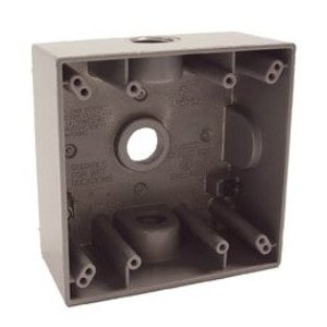"Hubbell-Raco 5333-0 Weatherproof Outlet Box, 2-Gang, Depth: 2"", Die Cast"