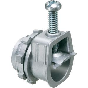 "Arlington L18 MC/AC/Flex Connector, Single Screw, Saddle, 3/4"", Zinc Die Cast"