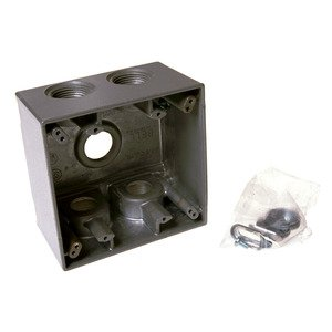 "Hubbell-Raco 5389-0 Weatherproof Outlet Box, 2-Gang, Depth: 2-5/8"", Die Cast"
