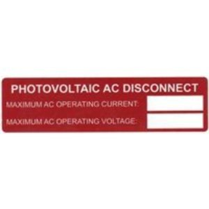 HellermannTyton 596-00239 Photovoltaic AC Disconnect Labels