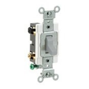 Leviton CS420-2GY 4-Way Switch, 20 Amp, 120/277V, Gray, Side Wired, Commercial Grade