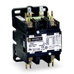 Square D 8910DPA52V02 Contactor, Definite Purpose, 50A, 600VAC, 110/120VAC Coil, 1PH, 2P