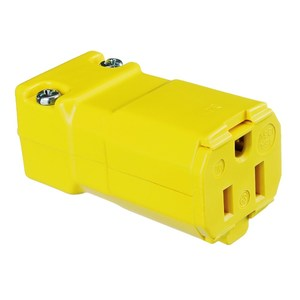 Hubbell-Kellems HBL5969VY Straight Blade Connector, 15A, 125V, 5-15R, Valise, Yellow