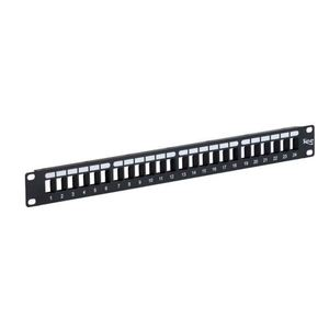 "ICC IC107BP482 Patch Panel, Blank, 48 Port, 3.47"" H x 19"" W, 2RMU, Flat, Black"