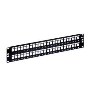 "ICC IC107BP241 Patch Panel, Blank, 24 Port, 1.72"" H x 19"" W, 1RMU, Flat, Black"