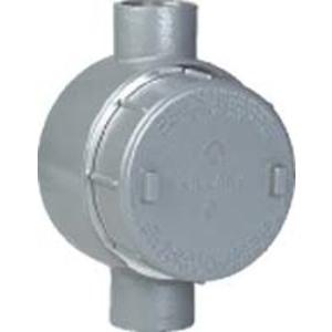 """Hubbell-Killark GESCT-4 Conduit Outlet Box, Type GESCT, (2) 1-1/4"""" Hubs, Aluminum"""