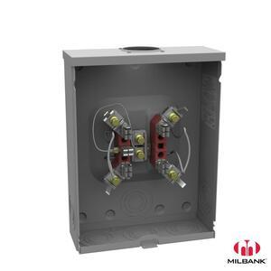 Milbank U9101-RL-TG-KK Meter Socket, 150A, 1PH, Ringless, OH Only, 5 Jaw, Horn Bypass
