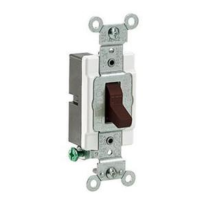 Leviton CS120-2 1-Pole Switch, 20 Amp, 120/27V, Brown, Side Wired, Commercial