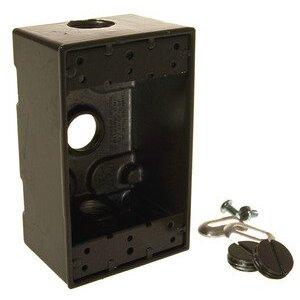 "Hubbell-Raco 5320-2 Weatherproof Outlet Box, 1-Gang, 2"" Deep, (3) 1/2"" Hubs"