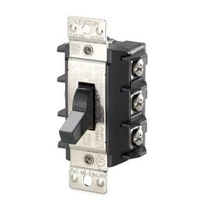 Leviton MS303-DSS Manual Motor Switch, 30A, 600VAC, Short Toggle, 3P, Black