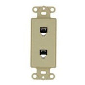 Leviton 40644-I Decora Insert, 6P4C + 6P4C, Screw Terminals, Ivory