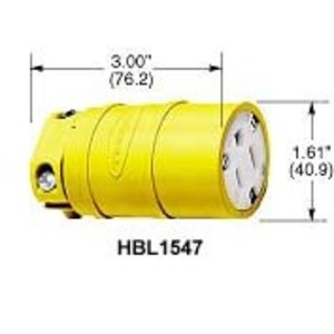 Hubbell-Wiring Kellems HBL1547 Connector, Elastogrip, 15A, 125V, 5-15R, Yellow