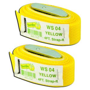 Dottie 2WS04 Web Straps w/ Buckle, 4', Nylon, Yellow, 2-Pack