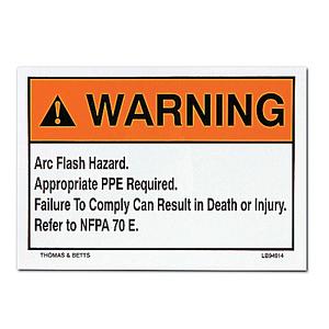 Thomas & Betts LB94913 Arc Flash Hazard Label, WARNING ARC FLASH HAZARD