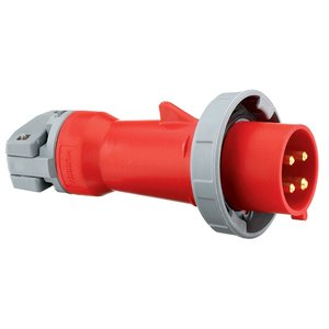Hubbell-Kellems HBL430P7W Pin & Sleeve Plug, 30A, 3PH Delta 480V, 3P4W, Red
