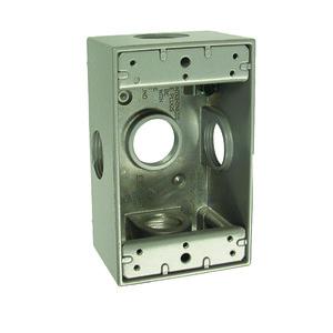 "Hubbell-Raco 5332-0 Weatherproof Outlet Box, 1-Gang, 2"" Deep, (5) 3/4"" Hubs, Aluminum"