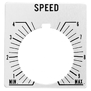 "Allen-Bradley 800T-X608 Legend Plate, Standard, 30mm, Gray w/Black Text ""SPEED"""