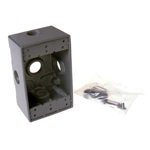 "Hubbell-Raco 5323-0 Weatherproof Outlet Box, 1-Gang, 2"" Deep, (5) 1/2"" Hubs, Aluminum"