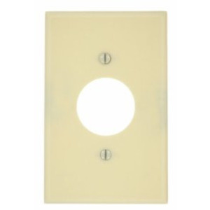 "Leviton 80504-I Single Receptacle Wallplate, 1-Gang, 1.406"" Hole, Thermoset, Ivory, Midway"
