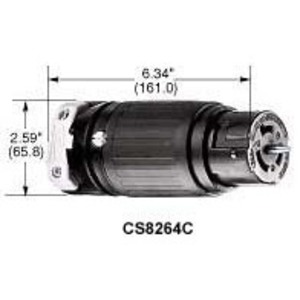 Hubbell-Wiring Kellems CS8264C Locking Connector, Non-NEMA, 50A, 250V, Black/White