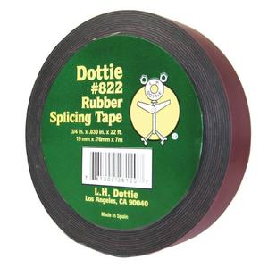 "Dottie 822 Rubber Splicing Tape, Low-Voltage, Black, 3/4"" x 22' Roll, 30 mil Thick"