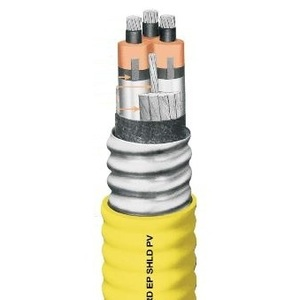 Okonite 571-22-3838 Power Cable, Aluminum Sheath, MV-105, 350-3, Shielded, Yellow Okoseal Jacket