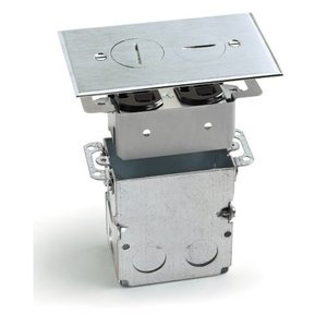 Lew SWB-2-A Floor Plate Assembly, Receptacle Box, Aluminum