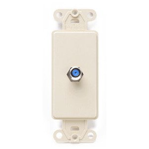 Leviton 40681-I Wallplate Insert, Decora, F-Connector, Ivory