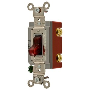 "Hubbell-Kellems HBL1221PL 20A 120V single-pole toggle switch with neon lamp set in clear red handle. Handle illuminates when switch is ""ON."" Serves as instant reminder that current is flowing to an appliance."