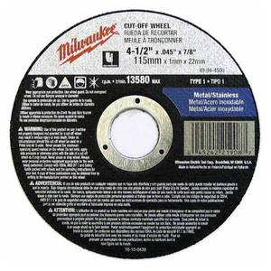 "Milwaukee 49-94-4500 Cut-Off Wheel, Type 1, 4-1/2 x .045 x 7/8"""